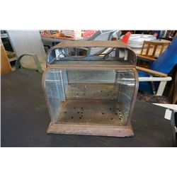 VINTAGE METAL AND CURVED GLASS DISPLAY CASE