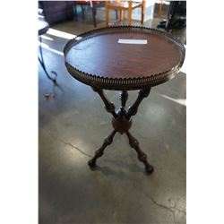 VINTAGE GYPSY STYLE TABLE WITH BRASS GALLERY