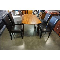 MORDERN DROP LEAF DINING TABLE W/ 4 LEATHER CHAIRS