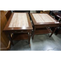 PAIR OF MARBLE INSERT END TABLES