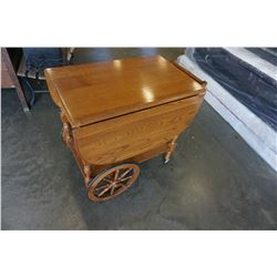 VINTAGE OAK TEA TROLLEY W/ DRAWER AND TOWEL HANDLE