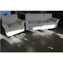 BEIGE MICROFIBER LOVE SEAT AND CHAIR