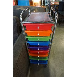 10 DRAWER MULTI COLOR AND CHROME ORGANIZER