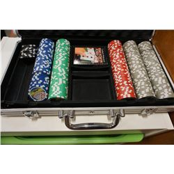 CASE OF POKER CHIPS W/ VALUES