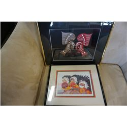 LOT OF 2 NATIVE PRINTS BOTH SIGNED