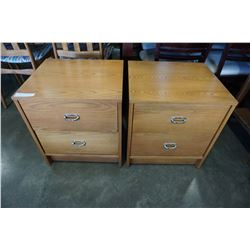 PAIR OF VALLIERES 2 DRAWER OAK NIGHT STAND