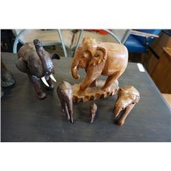 5 WOOD CARVED ELEPHANTS