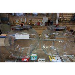 LOT OF 2 VINTAGE GLASS CANDY JARS W/ LIDS