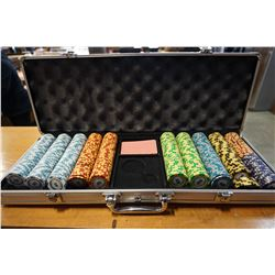 LARGE CASE OF POKER CHIPS W/ VALUES