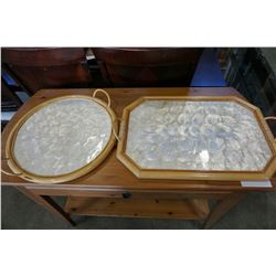 2 BAMBOO AND SHELL PLATTERS