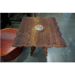 CARVED INLAID END TABLE
