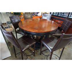 ROUND MODERN DINING TABLE WITH 6 METAL AND LEATHER DINING CHAIRS