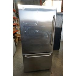 STAINLESS GE PROFILE FRIDGE WITH BRITA SYSTEM AND BOTTOM FREEZER, WORKS