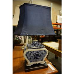 BLUE AND WHITE CHINESE TABLE LAMP W/ BLUE SHADE