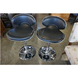 PAIR OF CHROME AND BLACK LEATHER GAS LIFT BAR STOOLS