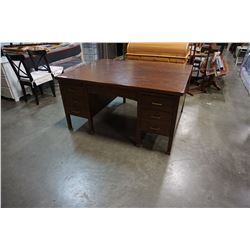 ANTIQUE OAK 2 PERSON PEDESTLE DESK
