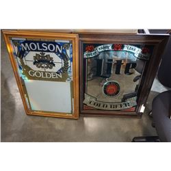 MOLSON GOLDOEN AND PILSNER LITE BEER MIRRORED ADVERT