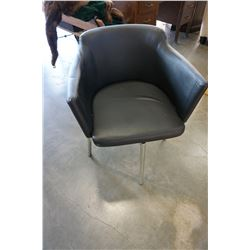 BLACK LEATHER CHAIR W/ METAL BASE