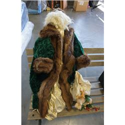 LARGE SANTA DOLL W/ MINK COAT TRIM