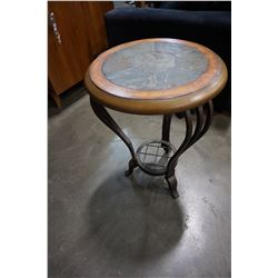 STONE TOP METAL BASE ENDTABLE
