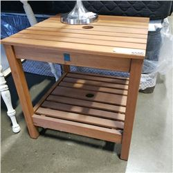 SMALL TEAK PATIO END TABLE W/ HOLE FOR UMBRELLA