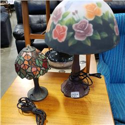 PAINTED SHADE TABLE LAMP AND LEADED GLASS SHADE TABLE LAMP