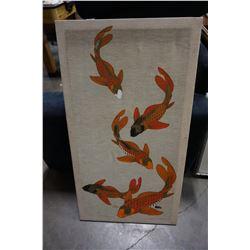 SIGNED SHAHEEN KOI FISH ON FABRIC