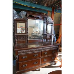 2 PC ANTIQUE 6 DRAWER BUFFET AND MIRRORED HUTCH