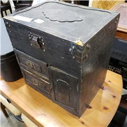 HAND CARVED TOOL BOX W/ TOOLS