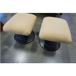 2 METAL BASE FOOT STOOLS