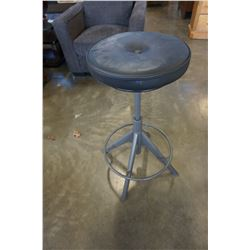 GREY AND LEATHER STOOL