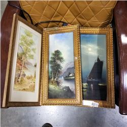 3 VINTAGE PRINTS - SHIP AND NATURE