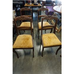 4 CARVED ANTIQUE WONDER BUILT DINING CHAIRS