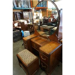 ANTIQUE WATERFALL VANITY WITH STOOL