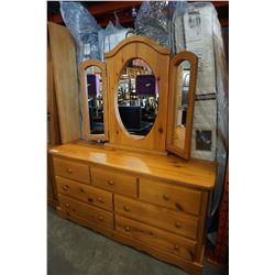 7 DRAWER PINE DRESSER W/ BIFOLD MIRROR