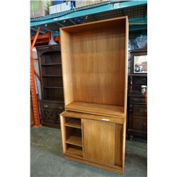 VINTAGE TEAK ENTERTAINMENT STAND WITH 2 SLIDING DOORS