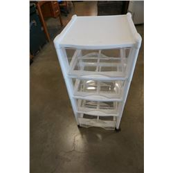 WHITE ROLLING ORGANIZER W/ CLEAR DRAWERS