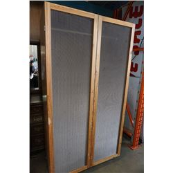 PINE WARDROBE WITH WIRE DOORS