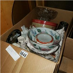BOX OF EASTERN AND CRYSTAL BOWLS AND DECOR