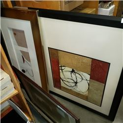 2 LARGE MODERN ABSTRACT PRINTS