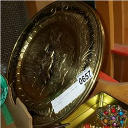 LOT OF BRASS PLATES, HUNTING, AND OTHER