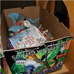 BOX OF XMAS BOOKS AND ITEMS