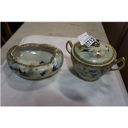 2 ANTIQUE HAND DECORATED DISHES