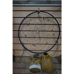 PAIR OF LEATHER BEADED MOCASINS, DREAM CATCHER, AND 2 DRIED CORN NECKLACES