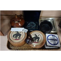 TRAY OF FIRST NATIONS COLLECTIBLES, COASTER SETS, PORCUPINE QUILL DISH