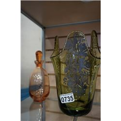 SILVER OVERLAY GREEN GLASS VASE AND COLORED GLASS DECANTER