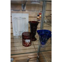 LOT OF COLORED GLASSWARE, GLASS THERMOMETER, CHAMPAGNE FLUTES
