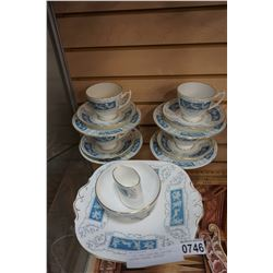 4 COAL PORT CUPS AND SAUCERS, SERVING PIECES, REVELRY
