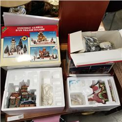 DEPARTMENT 56 SANTA VISITING CENTER, LEMAX XMAS HOUSE AND BOX OF SANTAS