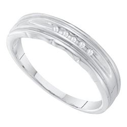 10KT White Gold 0.04CT DIAMOND FASHION MENS BAND